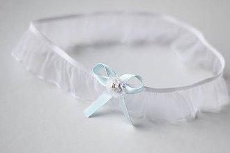 Bielizeň/Plavky - Svadobný podväzok s modrou mašľou - 7873290_