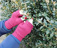 Rukavice - jednoduché 100% Merino rukavičky bez prstov - 7875684_