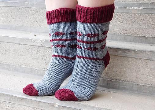 68b3559b4 Hrubé ponožky šedá a bordová (v.41-42) / Eva64 - SAShE.sk - Handmade ...