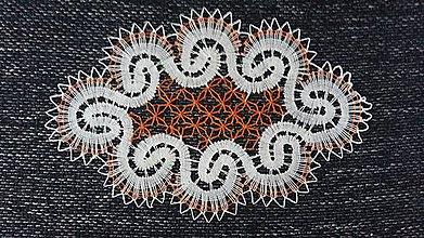 Úžitkový textil - dečka paličkovaná bielo-červená - 7875232_