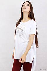 Tričká - Dámske tričko biele BAMBUS 06 zlatá potlač SHALOM - 7873555_