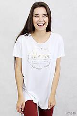 - Dámske tričko biele BAMBUS 06 zlatá potlač SHALOM - 7873558_