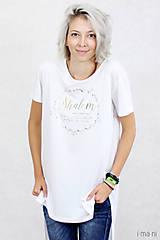 Tričká - Dámske tričko biele BAMBUS 06 zlatá potlač SHALOM - 7873559_