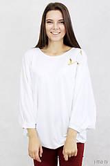 Topy - Dámske tričko biele BAMBUS 04 zlatá potlač VTÁKY - 7873753_