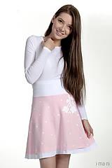 Sukne - Dámska sukňa A strih jemne ružová folk KVETINKA - 7874115_