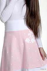 - Dámska sukňa A strih jemne ružová folk KVETINKA - 7874116_