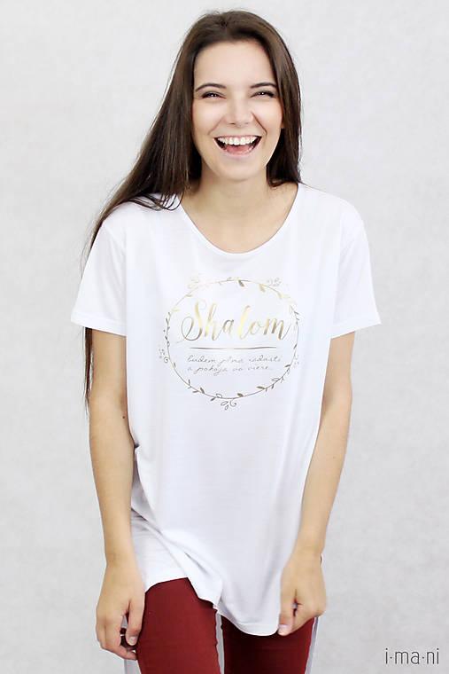 Dámske tričko biele BAMBUS 06 zlatá potlač SHALOM