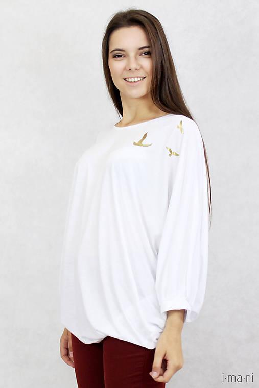 Dámske tričko biele BAMBUS 04 zlatá potlač VTÁKY