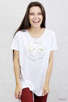 Tričká - Dámske tričko biele BAMBUS 06 zlatá potlač SHALOM - 7873558_