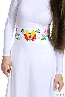 Sukne - Dámska sukňa biela Folk opasok - 7873970_