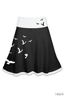 Sukne - Dámska sukňa A strih voliteľná dĺžka VTÁKY - 7874128_