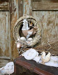 Dekorácie - Slamené vajce so sliepočkou - 7879894_