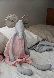 Hračky - Ľanová myška (Modrá) - 7877602_