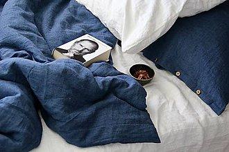 Úžitkový textil - Ľanové posteľné obliečky- džínsovo modré - 7877937_