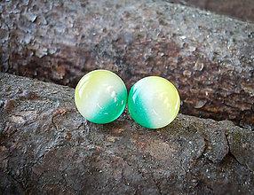Náušnice - Krúžky 12 mm dúhové (zeleno-žlté) - 7879137_