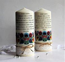 Svietidlá a sviečky - Dekoračná sviečka - poďakovanie svadobným rodičom - 7879117_
