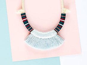 Náhrdelníky - Zľava 50%: Modrý strapcový náhrdelník •• - 7877953_