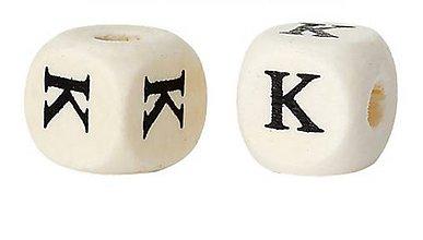 Korálky - Drevená korálka písmenko K - 7880466_