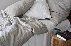Úžitkový textil - Ľanové posteľné obliečky- natural (140x200cm + 70x90cm  - Modrá) - 7883166_