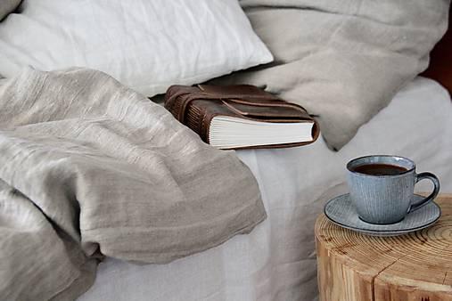 Ľanové posteľné obliečky- natural (140x200cm + 70x90cm  - Modrá)