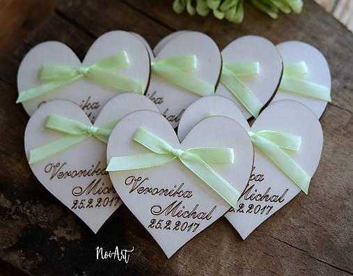 Svadobné magnetky srdiečko s mašličkou limetkovou