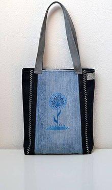 Iné tašky - Riflová taška s modrou rastlinou - 7882902_