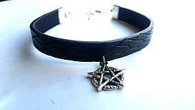 Náramky - Kožený náramok pentagram  - 7882487_