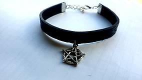 Náramky - Kožený náramok pentagram  - 7882488_