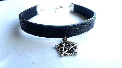 Kožený náramok pentagram