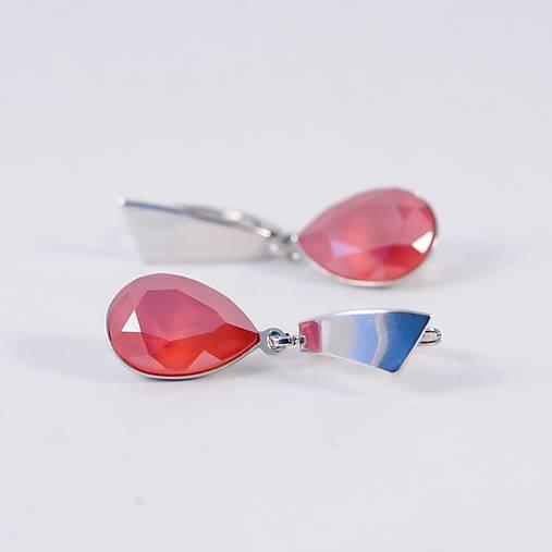Náušnice - ROYAL RED náušnice - Rhodium - 7881309_