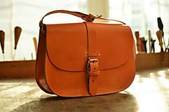 Kabelky - Miniaktovka L s remienkom , oranžová koža - 7884868_