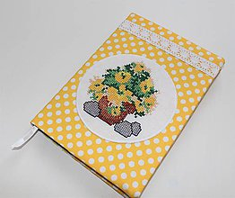 Papiernictvo - Zápisník s vyšívanými žltými kvietkami - 7884726_