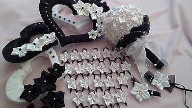 Kytice pre nevestu - Čiernobiela svadobná sada 1 - 7882582_