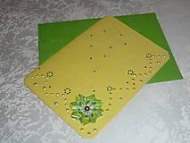 Papiernictvo - ....pohľadnica ....so zeleným skladaným kvietkom - 7883885_