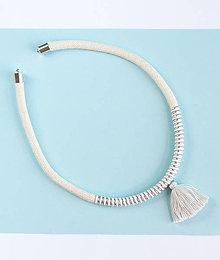 Náhrdelníky - Zľava 50%: Jemný biely metalický náhrdelník•• - 7882264_