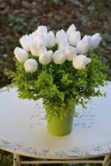 Polotovary - Umelý kvet - tulipán biely - 10ks - 7882909_