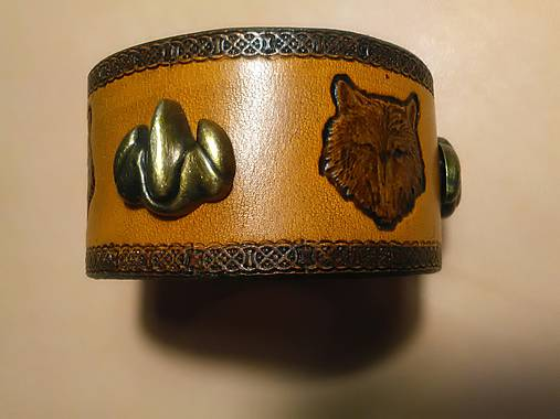 Kožený náramok Vlk z dvoma kovovými pazúrmi