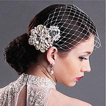 Ozdoby do vlasov - Francúzsky závoj s design sponou.Typ 91. - 7887579_
