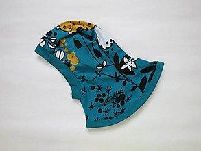 Detské čiapky - Bavlnená kukla petrolejové hríbiky - veľkosť 46 - 7888089_