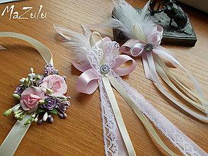 Pierka - svadobné pierko pre starostu  s perím a čipkou - 7886160_