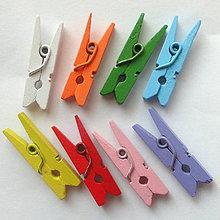 Iný materiál - Drevené MINI štipce 25mm-MIX-8ks - 7886286_