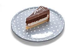 Nádoby - Šedý tanier s bodkami - 7887767_