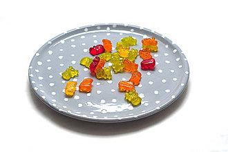 Nádoby - Šedý tanier s bodkami - 7887770_