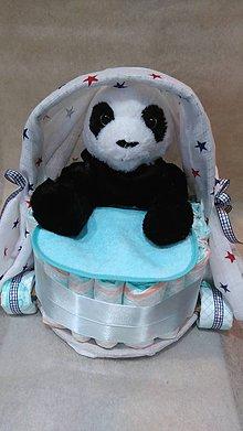 Textil - Plienková torta kočík pre chlapčeka + panda - 7888425_
