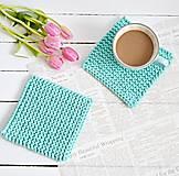 Úžitkový textil - Pletené podložky do kuchyne - tyrkysové - 7885686_