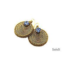 Náušnice - Okrúhle náušnice Sapphire - 7886173_