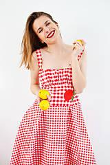 Šaty - Gingham červené šaty s kvetom  - 7885838_