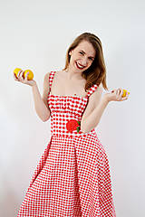 Šaty - Gingham červené šaty s kvetom  - 7885841_