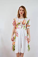 Šaty - Kvetované šaty s atypickými rukávmi vol. 1 – ružová a oranžová - 7887532_