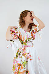 Šaty - Kvetované šaty s atypickými rukávmi vol. 1 – ružová a oranžová - 7887533_